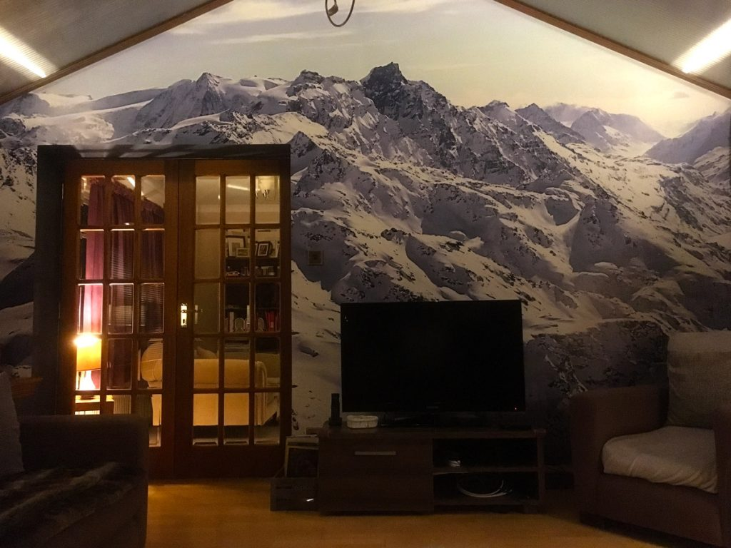 Conservatory Mountain Printed Wallpaper Verbier Switzerland